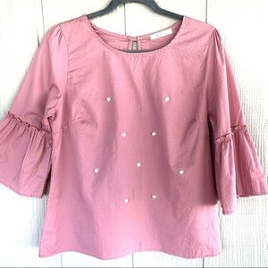 Tops - Rose pink top with pearls